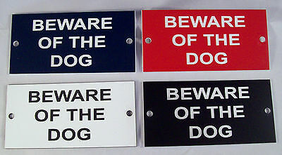 """BEWARE OF THE DOG 4"""" x 2"""" Engraved Sign with Drilled Holes"""