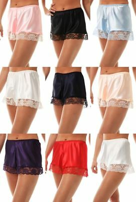 Women's Luxury Satin French Knickers Briefs Deep Lace Silky Style Size 10-26