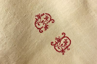 Vintage Linen Sheet French homespun CD monogram HEAVY natural warm tone
