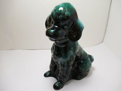 "Blue Mountain Pottery Dog Sitting Poodle  Green Glaze Stands 7.5"" Exc. Cond"