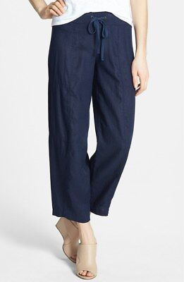 $178 Eileen Fisher Organic Linen Wide Leg Midnight Navy Ankle Pants