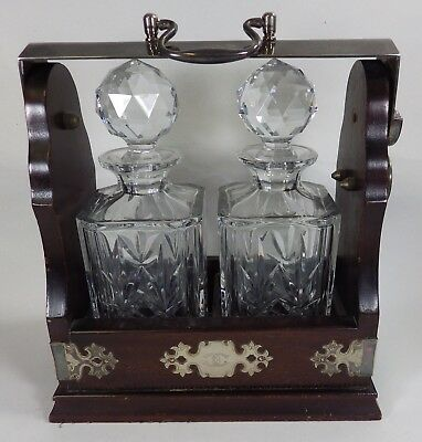 Vintage Mappin & Webb Tantalus w/ Lock, Silver Plated Mounts & Crystal Decanters
