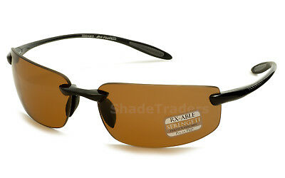 48bd0199a8 Serengeti Lipari Rimless Sunglasses Shiny Black Polarized Brown Drivers 7804