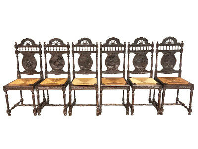 Fantastic set of Six Antique French Breton Dining Chairs, Oak, 1900's