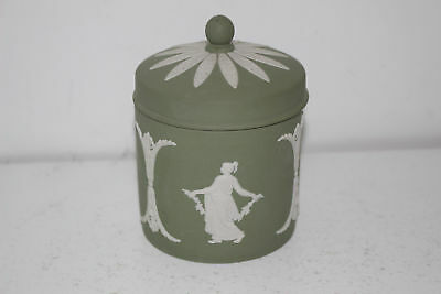 "Vintage Wedgwood Celadon Green Jasperware 4"" Candy Jar"