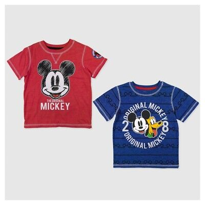 2 Pack of Disney Toddler Boys' Mickey Mouse Short Sleeve T-Shirts - Multicolored