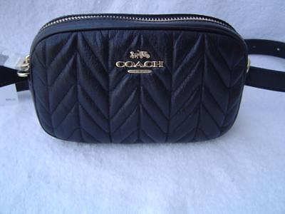 dd5ceba9b61e New Authentic Coach Black Quilted Leather Belt Bag fanny Pack  38678