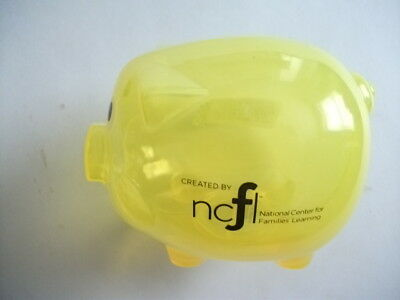 Clear Yellow Plastic PIGGY Bank Coin Money Savings Toy Cash Safe Box - NEW