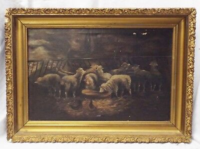 "Large Antique 16"" x 20"" FLOCK OF SHEEP in Barn Stable OIL PAINTING Framed"