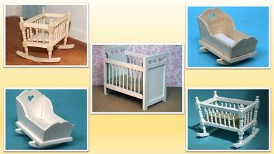 1:12 scale dolls house miniature selection of cradles and cot 5 to choose from.