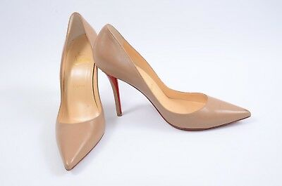 release date dcb53 9891b CHRISTIAN LOUBOUTIN APOSTROPHY nude 7.5 37.5 leather point toe pump shoe  $695