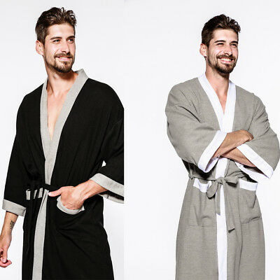 US Mens Bathrobe 100% PURE Cotton Hotel Waffle Lightweight Dressing Gown  Robe b5af3bc42
