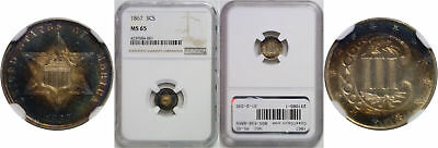 1867 Silver Three Cent Piece NGC MS-65