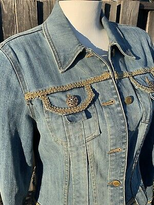 INC Vintage 1980's/Retro Style Denim Jacket with Gold Beading Rhinestone Buttons