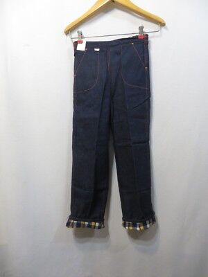 Vtg 50s Jeans Denim Flannel Lined High Waist Copper Rivets Sanforized RAB NOS