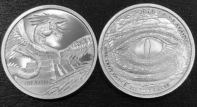 Lot Of 2 The Aztec 1 Oz Silver Round - World Of Dragons Bu Fine First In Series!