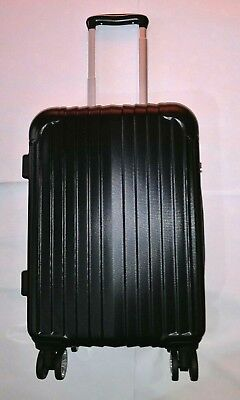 """20"""" Carry On Travel Luggage Bag Trolley Suitcase ABS 360° Wheels Rolling Black"""