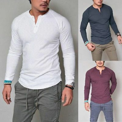 Mens Long Sleeve T Shirt Thermal Henley V Neck Slim Fit Button Tee Tops Blouse