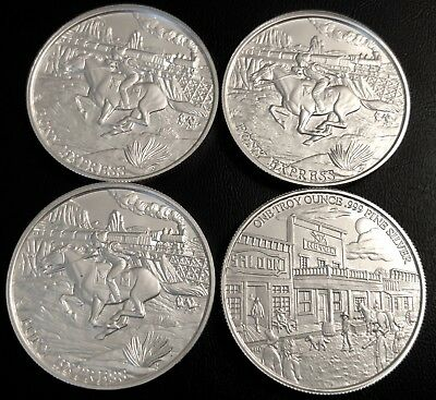 Lot Of 4 - Prospector Series 1 Oz Silver Round -  Pony Express