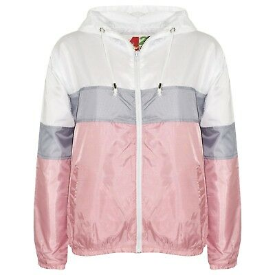 Kids Girls Windbreaker Baby Pink Contrast Block Jackets Hooded Cagoule Raincoats