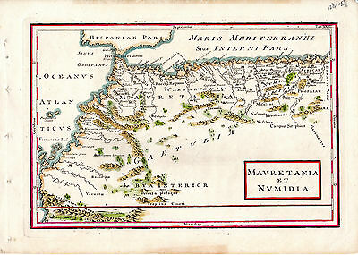 "ANTIQUE COPPERPLATE MAP - ""MAURETANIA ET NUMIDIA"" - LIBYA - NORTH AFRICA(c.1790)"