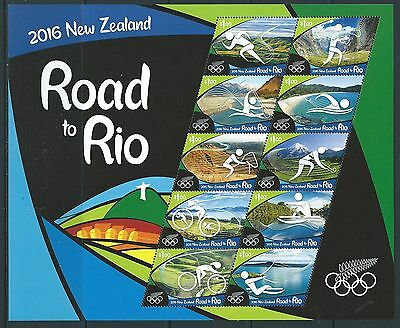 New Zealand 2016 Road To Rio Sheetlet Of 10 Unmounted Mint, Mnh Olympics