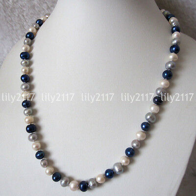 Real Natural 6-8mm MultiColor Baroque Freshwater Cultured Pearl Necklace 18-28''