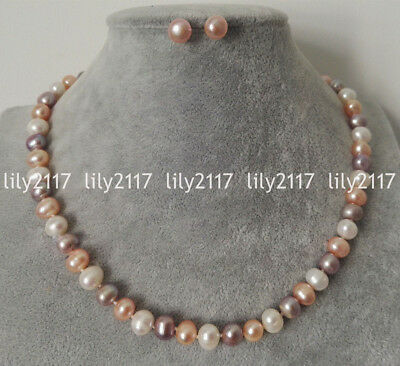 Natural 7-8mm MultiColor Freshwater Cultured Pearl Necklace Earrings Set 18-36''