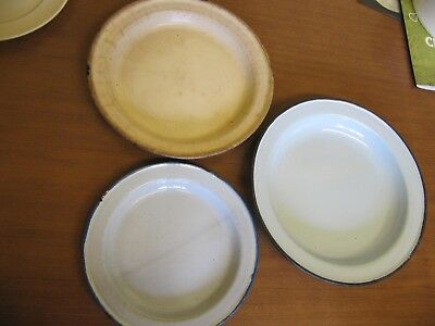 Vintage Enamel Oven Tins, Pie Dishes, Plates, Retro, 1950s or earlier, antiques?