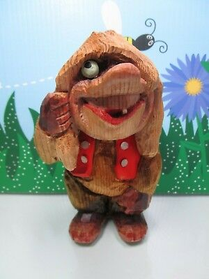 "HAND CARVED MAN IN VEST- 7 1/2"" Henning of Norway Troll Doll"