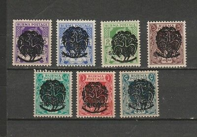 "Burma STAMP 1943 ISSUED PEACOCK OVERPRINT ON KGVI ""SERVICE"" SET, MNH RARE"
