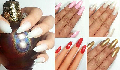 USA FAST! ANY COLOR! STILETTO OVAL False Nails 20pc Full Cover Glue On Long