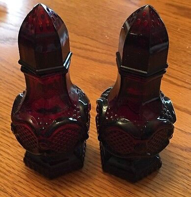 "Avon 1876 Cape Cod Collection Ruby Red (Cranberry) Salt & Pepper Shakers-4.5"" T"