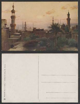 Egypt C Wuttke Artist Signed Old Postcard Cairo in Morning Caire au Matin Mosque