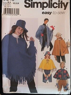 6191c998c OOP SIMPLICITY 5349 MS Poncho & Purse Hat & Mittens PATTERN XS-S-M/6