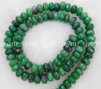 "Natural Green 5x8mm Faceted Emerald Gemstone Rondelle Loose Beads Strand 15"" AAA"