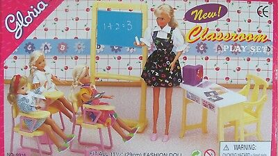 Gloria Dollhouse Furniture for Barbie Dolls - Classroom with Desk, Chairs etc.