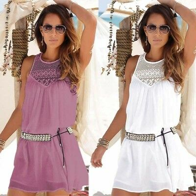 Summer Womens Ladies Slim Mini Dress Holiday Beach Solid Casual Short Dresses