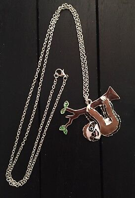 "28"" Enamel Sloth Pendant Necklace US SHIPPER, Ships Quickly!"