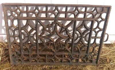 Large Antique Cast Iron Ornate Window Grate - Architectural Salvage 24x16