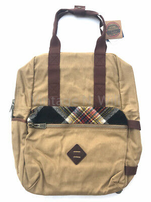 Pendleton Mill Plaid Wool  Waxed Cotton Backpack Tote Commute Travel School  Bag f0a7eb9c4e381