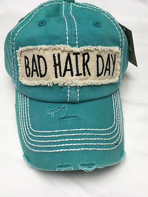 Bad Hair Day Turquoise Blue Vintage Baseball Cap Factory Distressed  Ponytail Hat 29c0e074e6