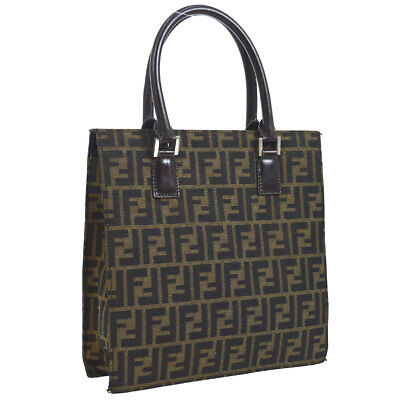 6152fabe2b Authentic FENDI Zucca Hand Tote Bag Brown Canvas Leather Italy Vintage  AK25605