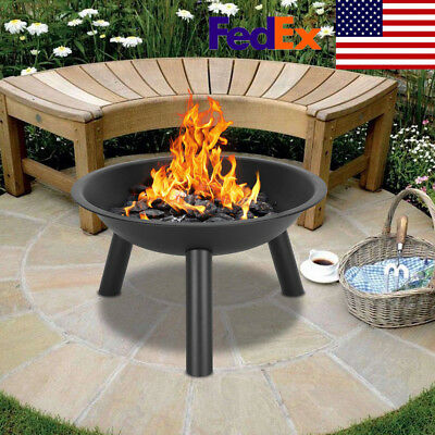 "22"" Iron Fire Pit Bowl Black Portable Outdoor Grill BBQ Equipment US STOCK"