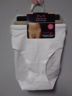 26802a4bff Maidenform Sweet Nothings Hipster White Black   Taupe - Extra Large - Pack  ...