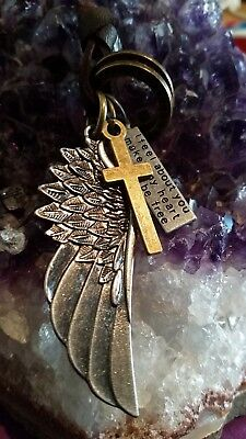 WOW - NEW PENDANT WITH LARGE WING & ASSORTED CHARMS on ext brown leather strap