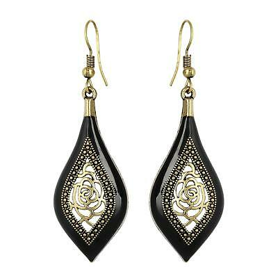 Indian Bollywood Vintage Earrings Dangle Tribal Ethnic Carved Hoop Gold Plated