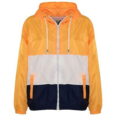 Kids Girls Windbreaker Contrast Panel Mustard Hooded Jackets Raincoats 5-13 Year