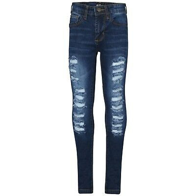 Kids Girls Denim Ripped Dark Blue Skinny Jeans Fashion Stretch Pants Jeggings