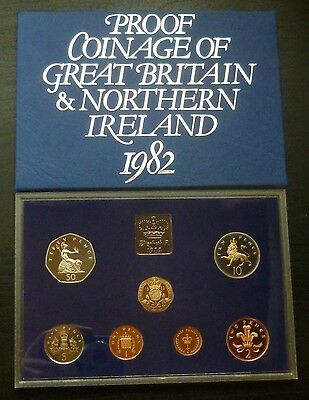 1982 Royal Mint UK Proof 7-Coin Year Set includes First 20p, Large 50p/10p/5p